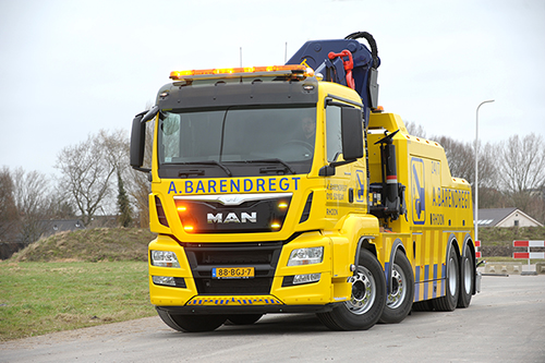 MAN 8x4 bergingstruck voor A. Barendregt